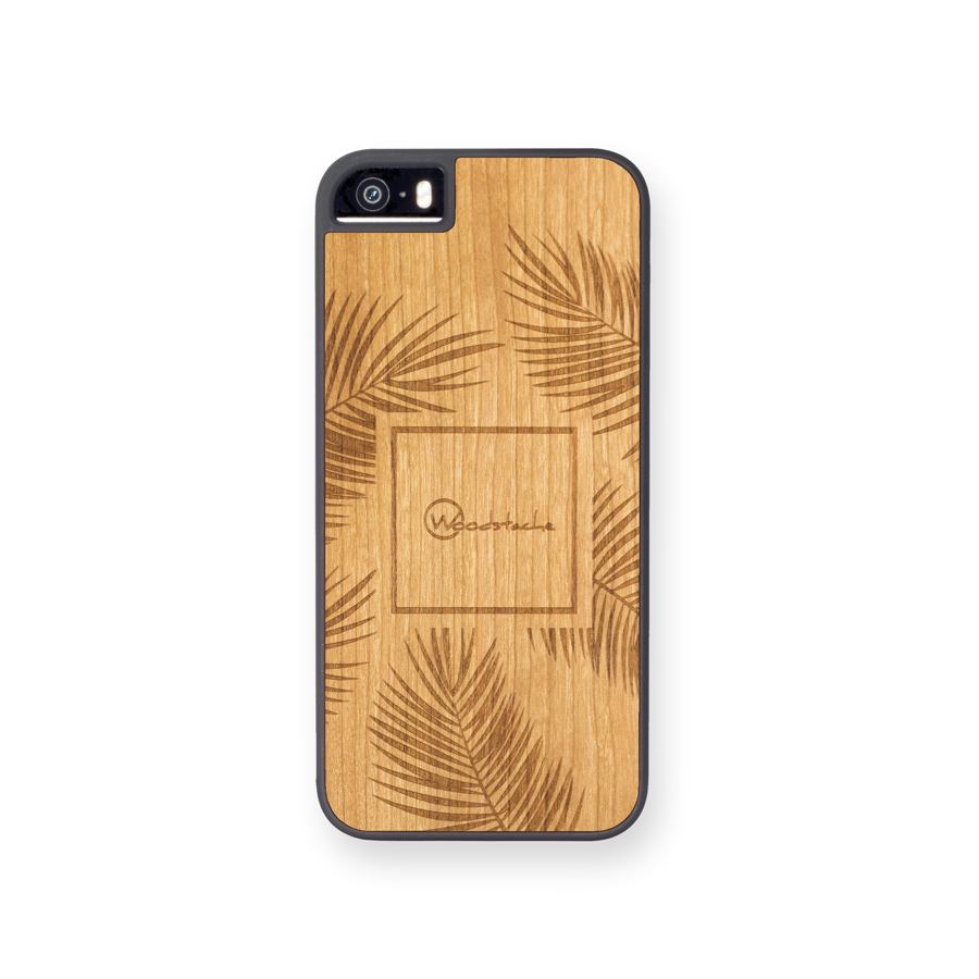 Coque iPhone 5SE palm Merisier face