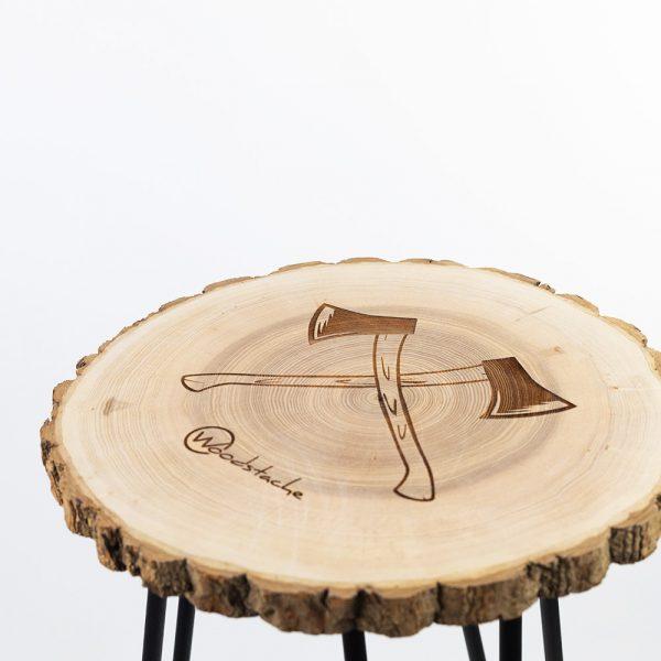 Tabouret en bois rondin