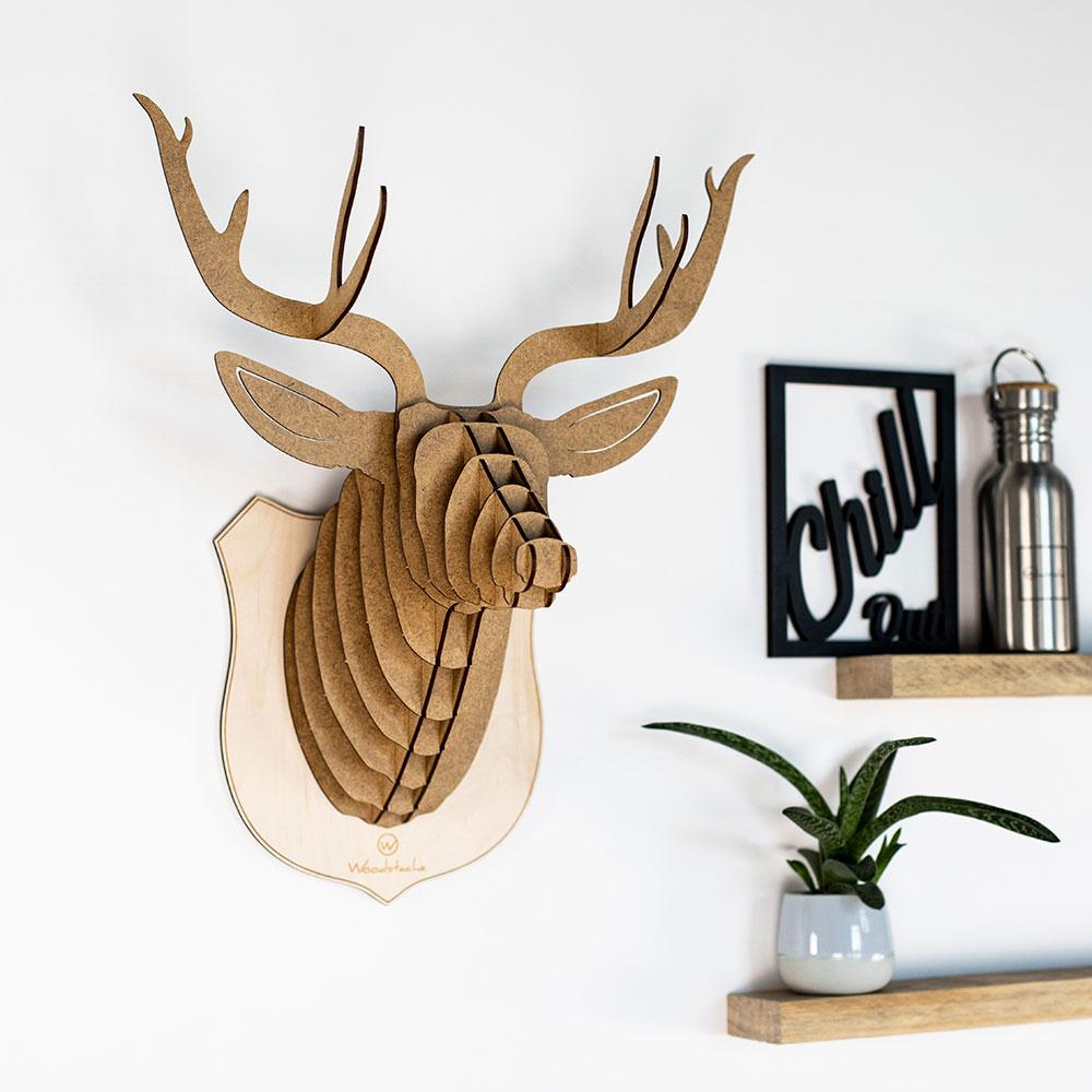 woodstache t te de cerf en bois d coration murale made in france. Black Bedroom Furniture Sets. Home Design Ideas