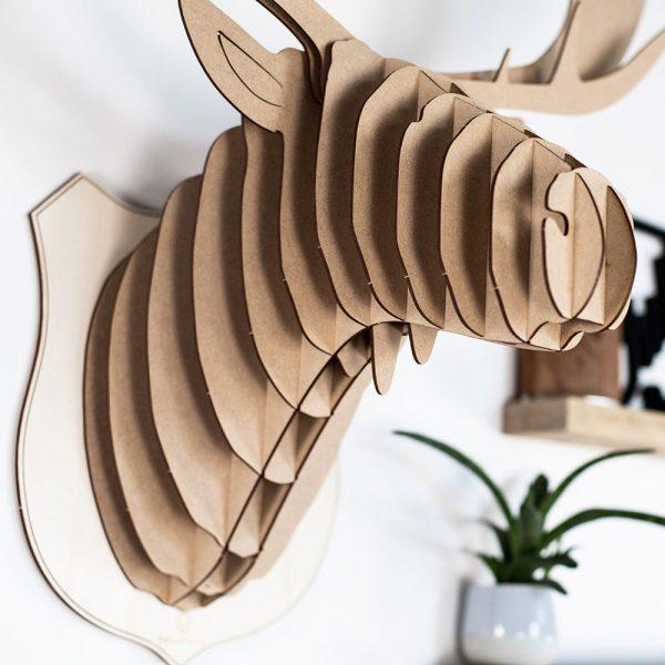 Tete d'élan en bois made in france